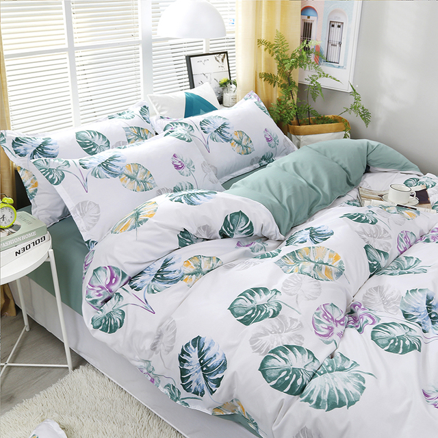High Quality Banana Leaf Pattern Bedding Set Bed Linings Duvet Cover Bed Sheet Pillowcases Cover Set 4pcs/set
