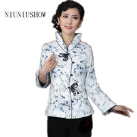 Holiday Sale White Blue Lady Silk Satin Coat Chinese Button Coat Tang Suit Floral Jacket Dropshipping S M L XL XXL XXXL
