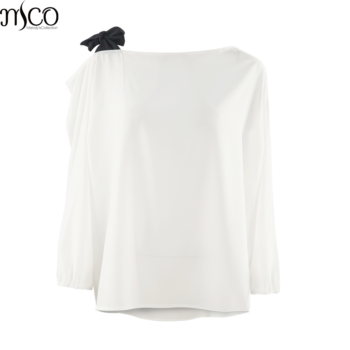 MCO 2018 Spring Sexy Tie One Shoulder Plus Size Women Top Fashion Office Ladies Oversized Blouse Basic OL White Tops 5xl 6xl 7xl