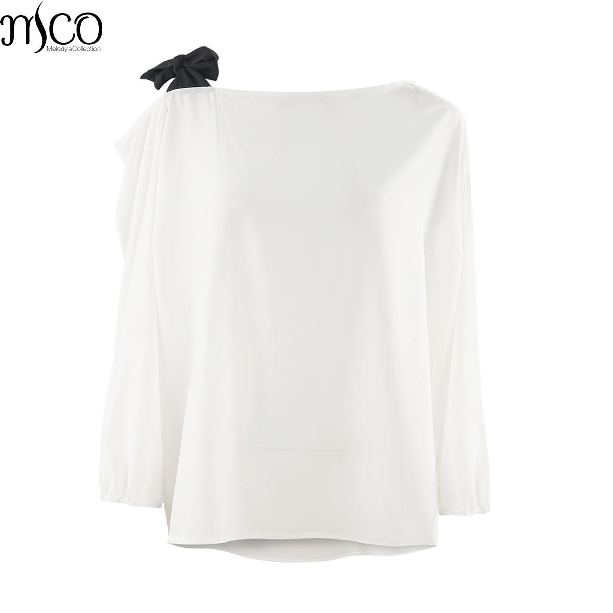 MCO 2018 Spring Sexy Tie One Shoulder Plus Size Women Top Fashion Office Ladies Oversized Blouse Basic OL White Tops 5xl 6xl 7xl