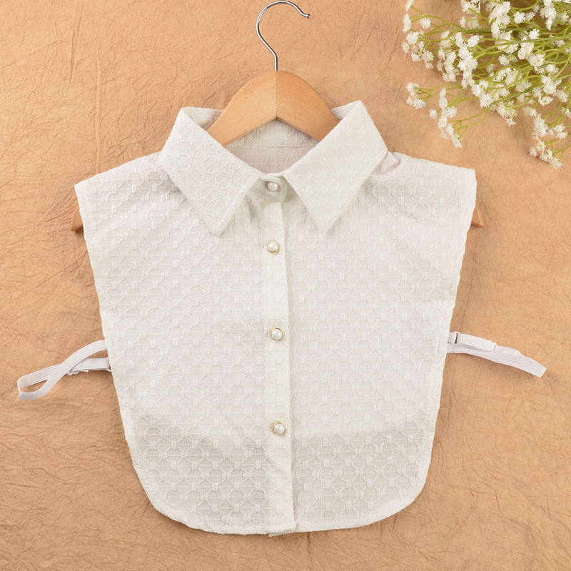 YSMILE Y Sweet Women Fake Collar Side Collar Pure Color Flower Shirt Collar Lady White Adjust Removable Collar B79