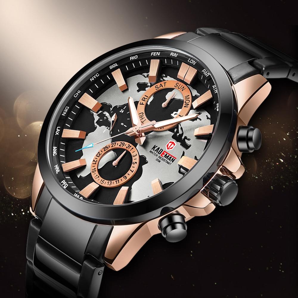 2019Men Watches Luxury Casual Business Quartz Wristwatch Unique Map Design Sport Watch 3ATM Full Steel Fashion Relogio Masculino