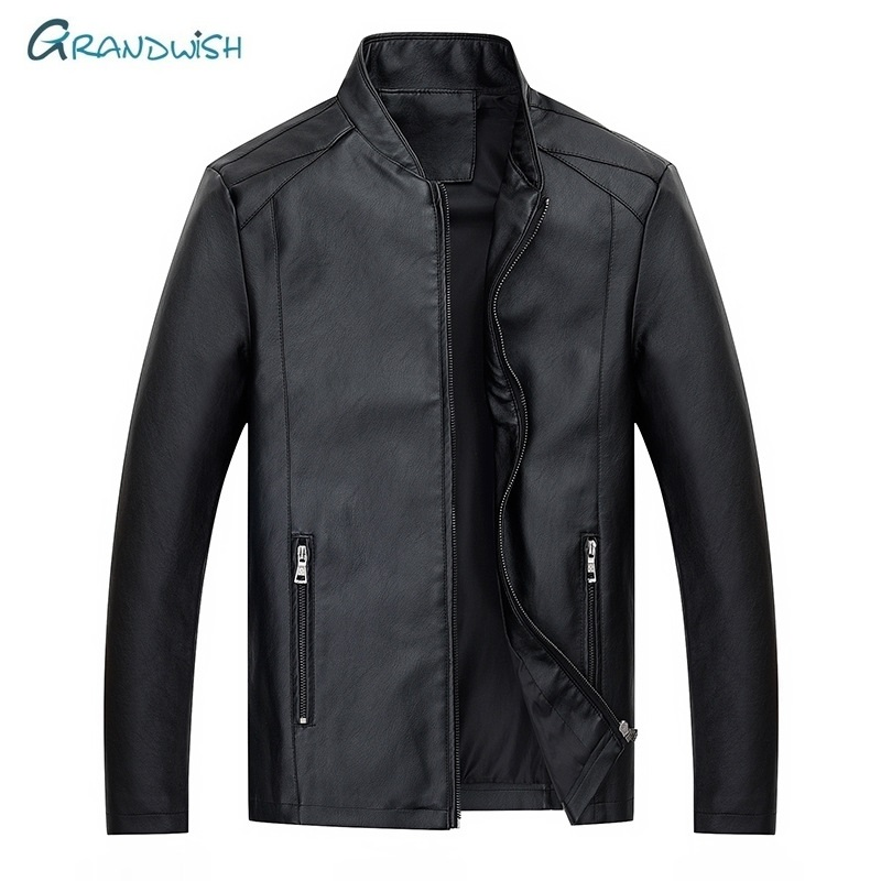 Grandwish Men's Leather Jackets Men Stand Collar Coat Male Motorcycle Leather Jacket Casual Brand Clothing Plus Size M-4XL,DA895