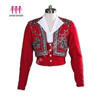 Red Boy Professional Ballet Dance Outwear Prince Ballet Top Mens Ballet Jacket Boy's Spanish Ballet Stage Dance Costumes B011