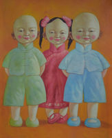Hand Painted Modern Abstract Cartoon Canvas Painting Laughing Children Oil Painting On Canvas Wall Art Picture Painting For Room