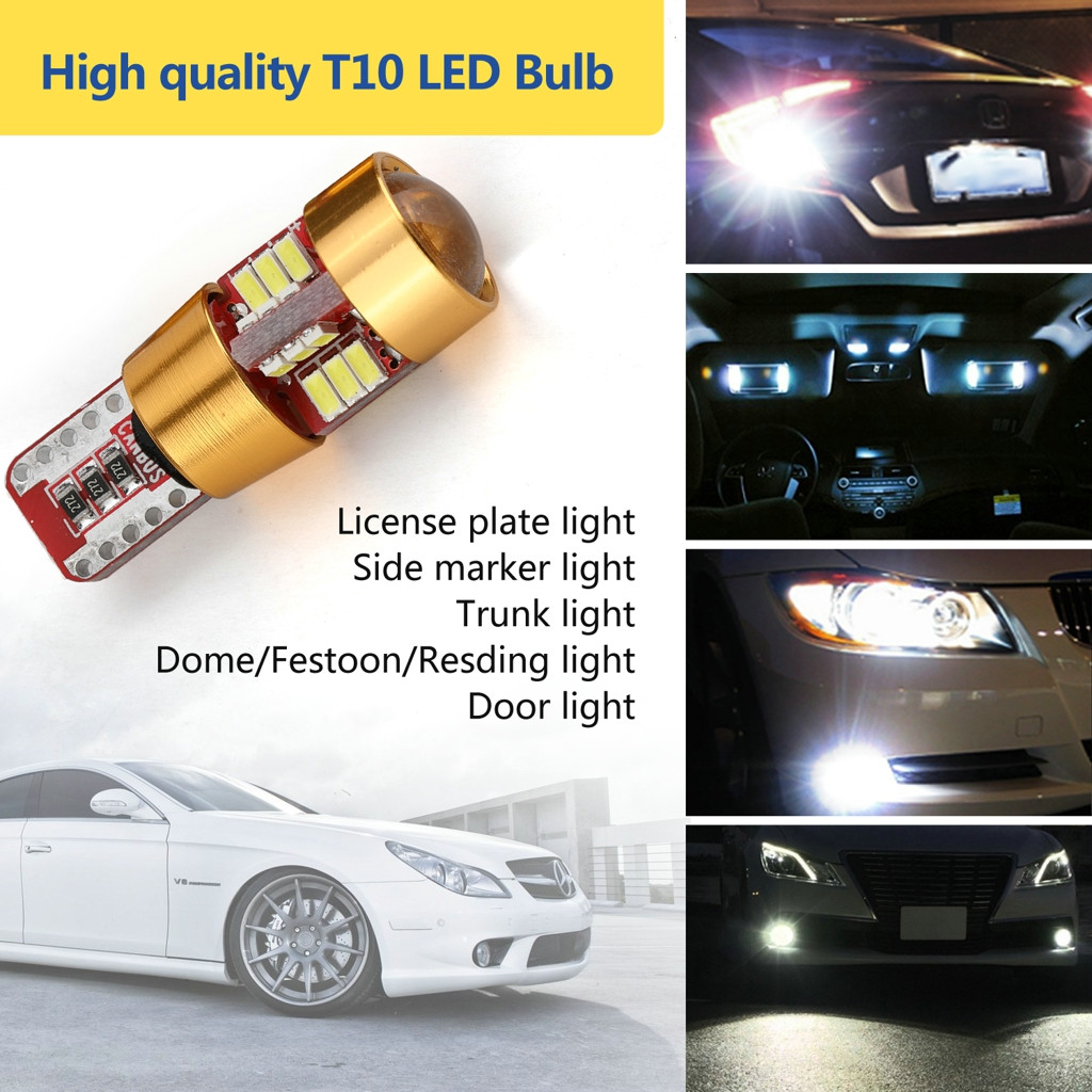 Image 2 - 2 Pieces Car T10 Wedge 4014 27 SMD LED License Plate Map Dome Lights Gold LED Light Bulbs For Cars Width Reading Panel Lights-in Signal Lamp from Automobiles & Motorcycles