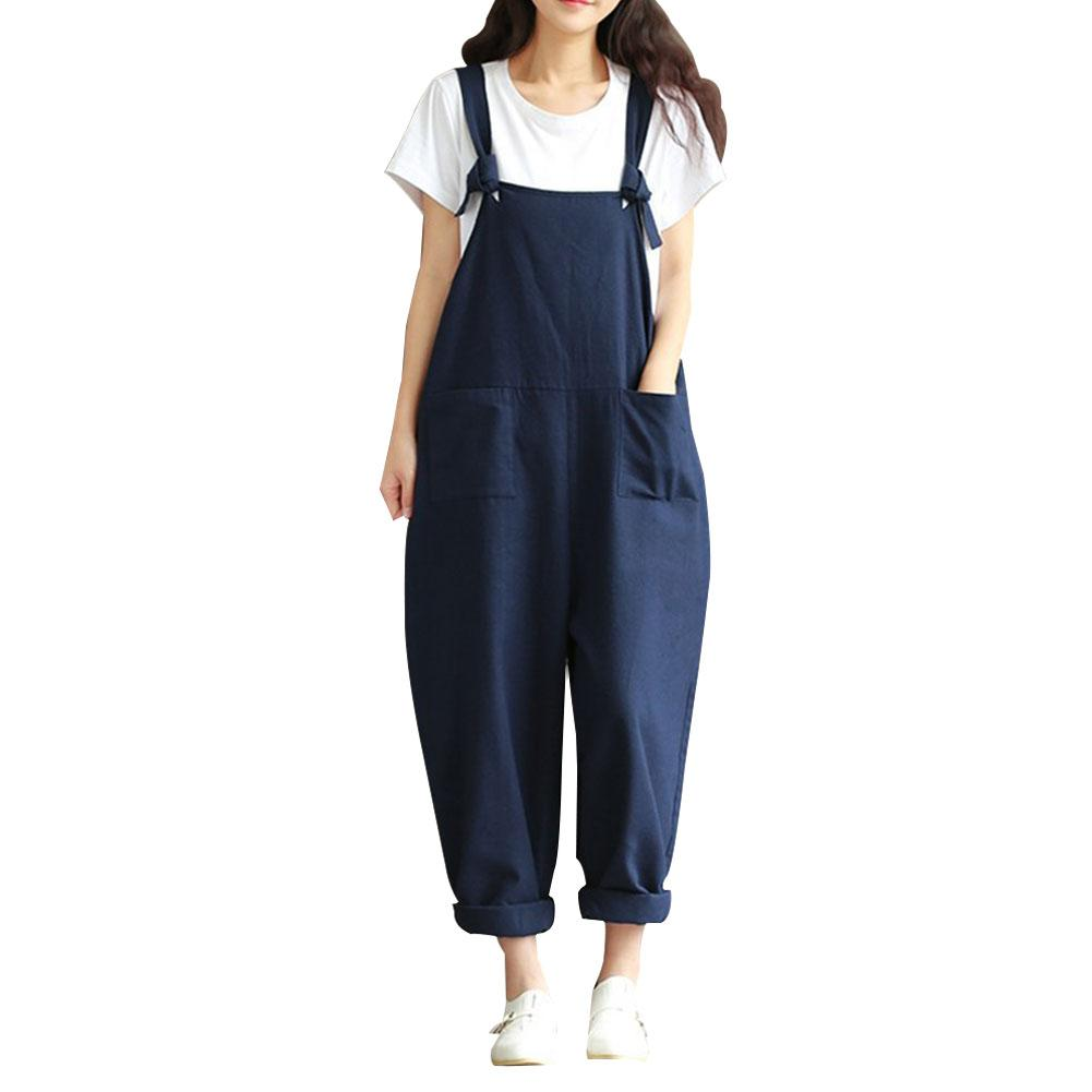 Women Sleeveless Pockets Dungaree Baggy Jumpsuits Overalls Strappy Casual Loose Long Harem Pants Bib Trousers Plus Size 5XL