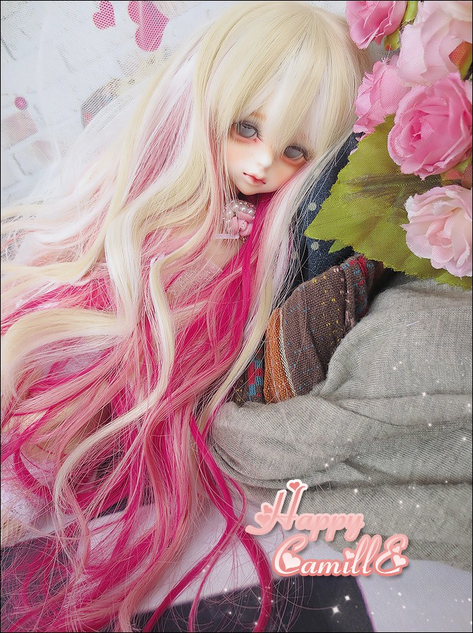 New 1/3 22-24cm 1/4 18-18.5cm Dreamlike Blonde Mix Pink Long Wig BJD SD MSD Doll Wig new 1 3 22 23cm 1 4 18 18 5cm bjd sd dod luts dollfie doll orange black short handsome wig