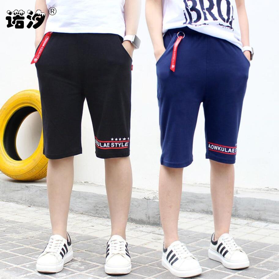 Boys short pants 4 12T kids summer beach cotton knee length trousers  teenage high quality causal elastic pants boys active pants|Shorts| -  AliExpress