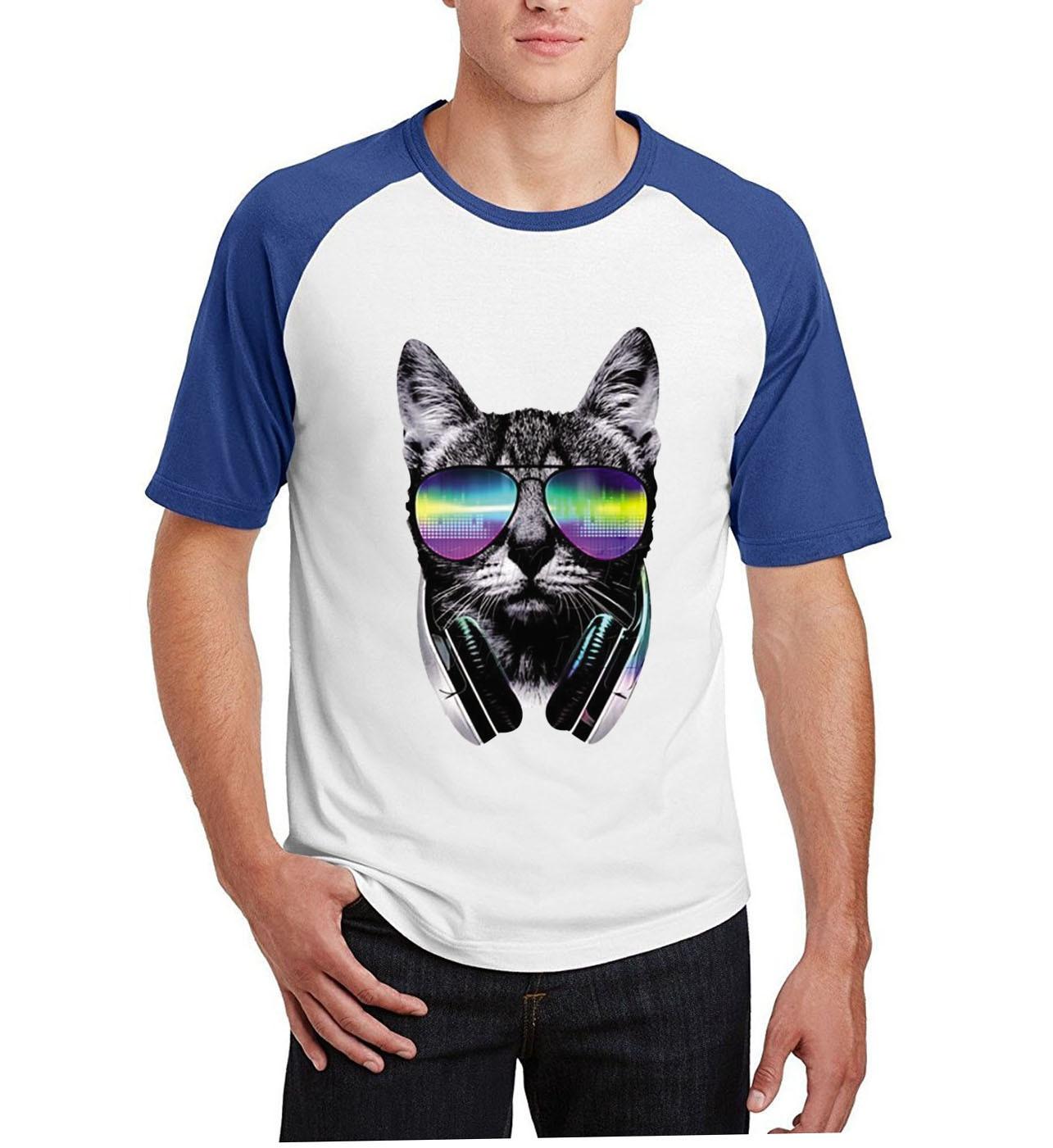 o-neck cotton camisetas cotton kpop tops tee novelty music DJ cat printing t shirts men short raglan sleeve t-shirts 2019 summer