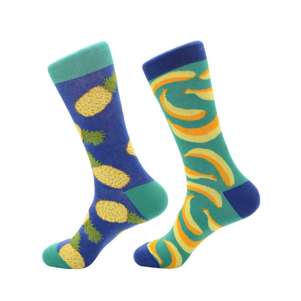 Красочные Для мужчин счастливой забавные мультипликационные животные фрукты носки модный принт ананас, банан тигра хлопок дышащая обувь для занятий хип-хопом носки под платье
