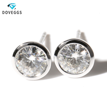 Genuine18K 750 White Gold Push Back TRANSGEMS 1 Carat ct EF Colorless Test  Positive Lab Grown Moissanite Diamond Earrings