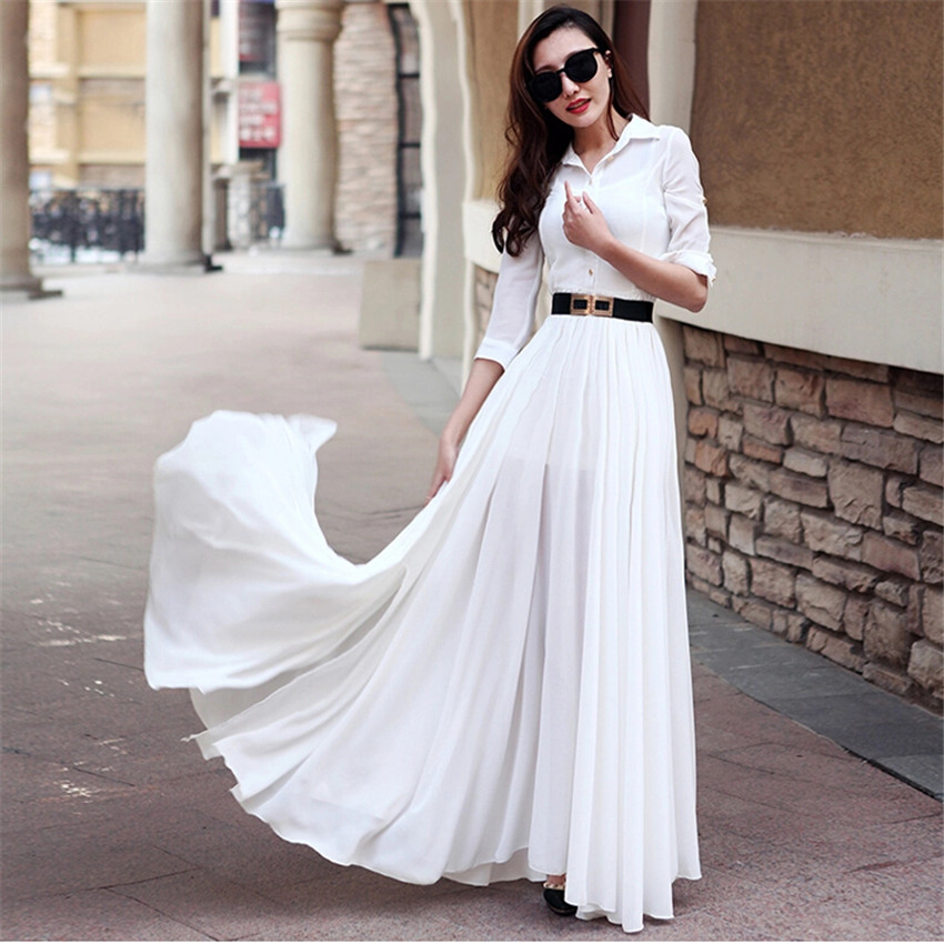 White Long Summer Dresses with Long Sleeves