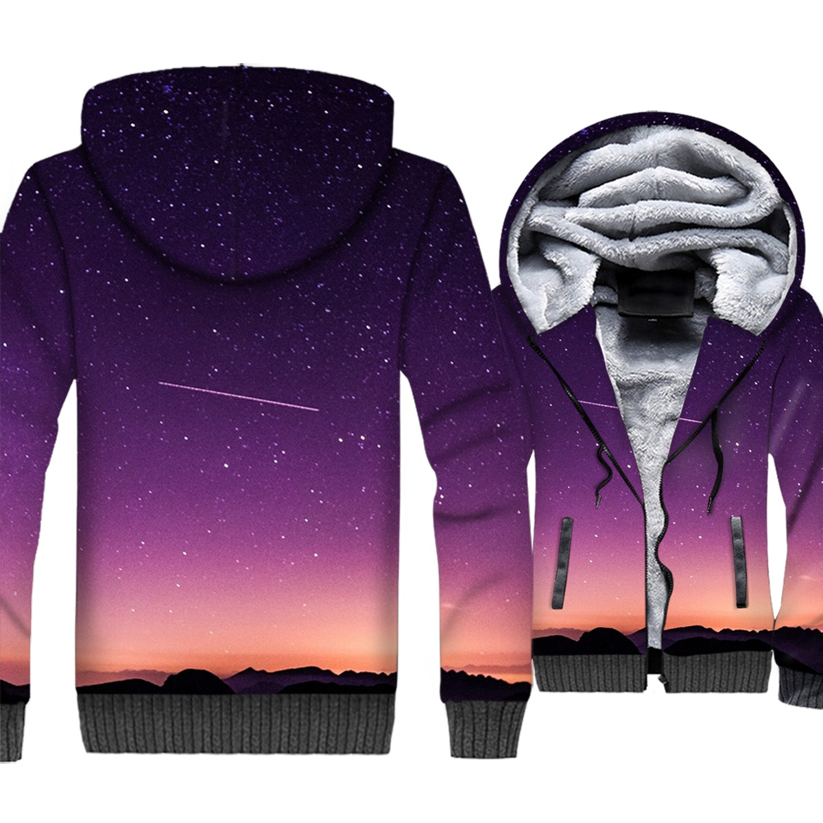 Space Galaxy 3D Jackets Men Hoodies Colorful Stars Nebula Sweatshirts Winter Thick Fleece Harajuku Paisley Nebula Meteor Coat