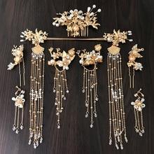 Chinese style new retro bridal coronet hairpins combs sets wedding headdress pure gold adornos para el pelo