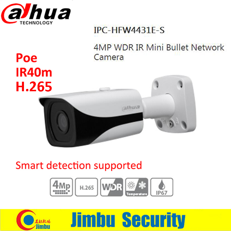 DAHUA 4MP Camera WDR IPC-HFW4431E-S H.265 Fixed Lens3.6mm IR40m Network IP67 smart detection Bullet IP Camera HFW4431E-S dahua 4mp wdr ipc hfw4431e s h 265 fixed lens3 6mm ir40m network waterproof ip67 smart detection bullet ip camera hfw4431e s