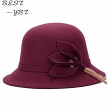 Hats Fedoras Flowers Wool Bowler Derby Girls Winter Women Ladies New Warm Hot Fall Chapeau