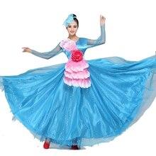 Spanish Dance Dress Flamenco Flamengo Custome  Opening Skirt Christian Chorus Costumes Adult Dresses 540
