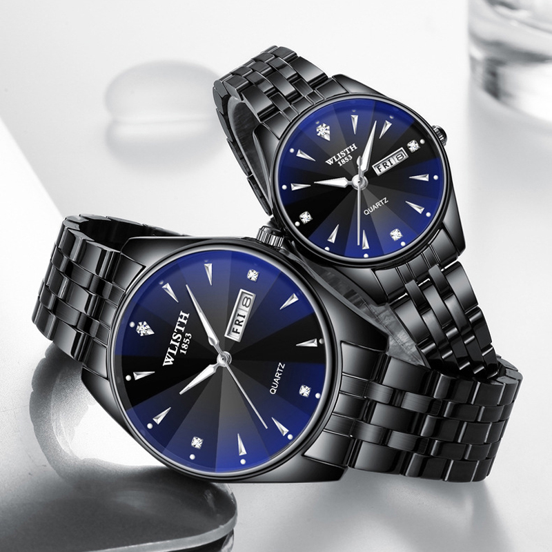Couple Watch Wrist Stainless-Steel Automatic-Date Luminous Men Women Lovers New Quartz