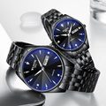 Часы для пар из нержавеющей стали  роскошные мужские и женские кварцевые часы с автоматическим отображением даты и недели  светящиеся кожан...