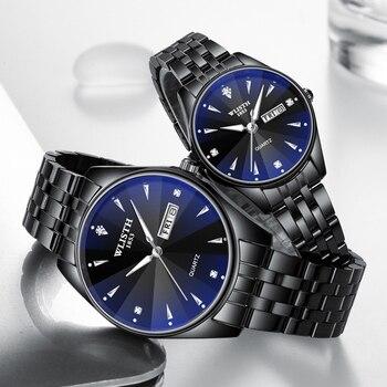 Часы для пар из нержавеющей стали, роскошные мужские и женские кварцевые часы с автоматическим отображением даты и недели, светящиеся кожан...
