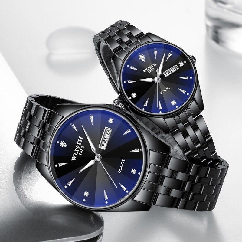 Где купить Часы для пар из нержавеющей стали, роскошные мужские и женские кварцевые часы с автоматическим отображением даты и недели, светящиеся кожаные Наручные часы для любителей
