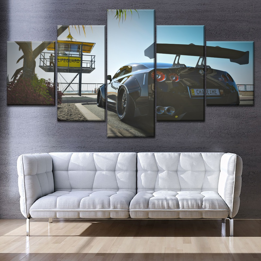 Modern Printing Type Canvas Painting 5 Piece Modular Styles Game Forza Horizon 3 Nissan GT-R Back View Picture Home Decor Wall
