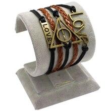 Bronze Infinity Harry Potter Golden Snitch Love Charm Multi Layers Wax Cords PU Leather Braid Bracelets & Bangles
