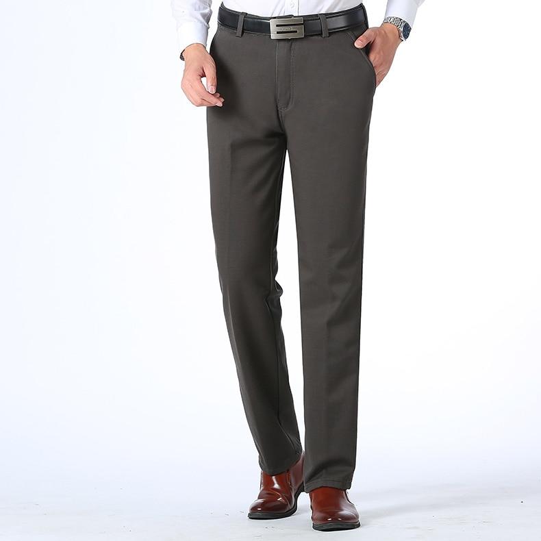 HTB190qlDv1TBuNjy0Fjq6yjyXXaY Autumn Winter Men Warm Fleece Classic Black Cotton Pants Mens Business Loose Long Trousers Quality Casual Work Pants Overalls