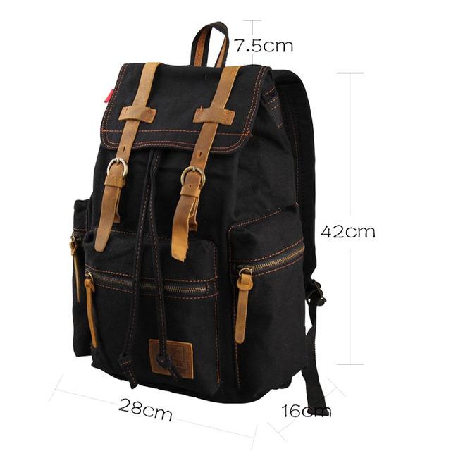 Chuwanglin Men's canvas Backpack Genuine leather Vintage School Bag Rucksack casual Leisure Travel Bag Men's Laptop Backpacks