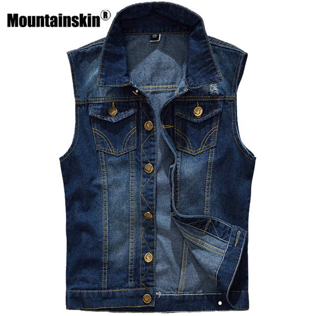 Mountainskin 5xl джинсовый жилет Для мужчин куртка без рукавов Повседневное жилет Для Мужчин's Джинсовое пальто Ripped Slim Fit мужской пиджак ковбой sa328