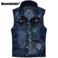 5d709c1e Mountainskin 5XL джинсовый жилет Для мужчин куртка без рукавов Повседневное  жилет Для Мужчин's Джинсовое пальто Ripped Slim Fit .