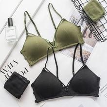 Roseheart 2018 New Women Fashion Green Sexy Lingerie Sets Wireless Trim Bras Straps Cotton Panties Hole Bra Underwear