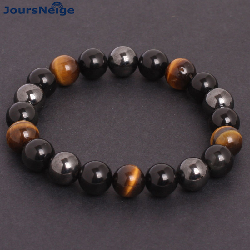 JoursNeige Men Bracelets Natural Stone Bracelets for Women 10mm Beads Black Obsidian Tiger Eye and Hematite Stone Bracelet