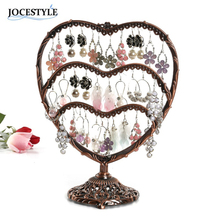 58 Holes Black Bronze Earring Holder Stand display Heart Jewelry Display Rack Gift for Mother Wife