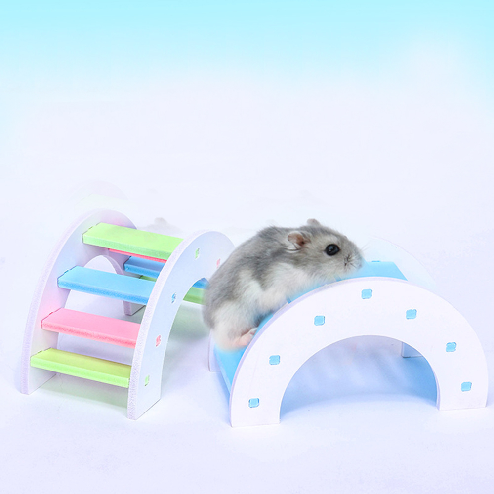DIY Wooden Pet Toy 7th-order Rainbow Bridge For Hamster Pet Toy Waterproof Hamster House With Installation Accessory