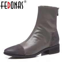 FEDONAS Fashion Women High Heeled Pumps Back Zipper Autumn Winter Warm Short Ankle Boots Female Casual Night Club Shoes Woman