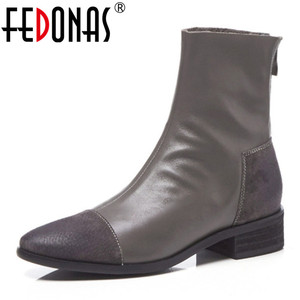 Image 1 - FEDONAS Fashion Women High Heeled Pumps Back Zipper Autumn Winter Warm Short Ankle Boots Female Casual Night Club Shoes Woman