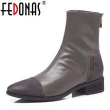 FEDONAS موضة النساء عالية الكعب مضخات عودة زيبر الخريف الشتاء الدافئة قصيرة حذاء من الجلد الإناث عادية ليلة نادي أحذية امرأة