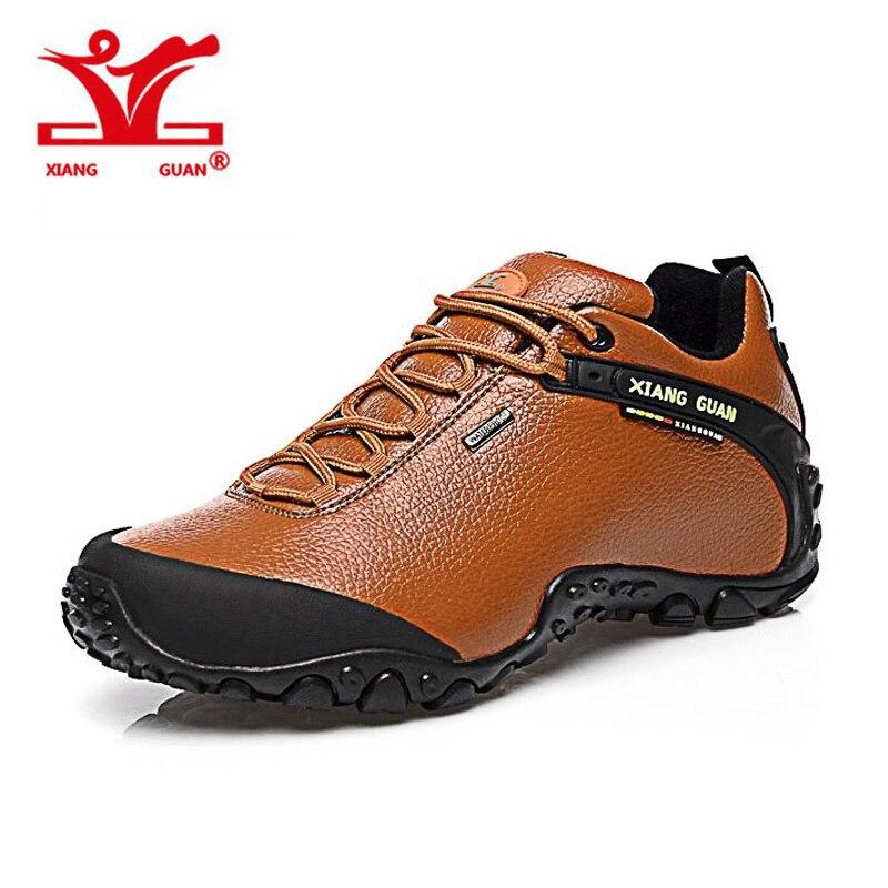 XIANGGUAN Leather Waterproof Shoes Hiking Mountain Men Sneaker Outdoor Skid Resistant Trekking Trainers Women Unisex xiangguan man hiking shoes waterproof outdoor climbing men trainers trekking sneaker breathable 40 48 plus size us 12 13 14 15