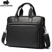 Luggage Bags - Briefcases - Bison Denim Genuine Leather 14'' Laptop Briefcase Business Zipper Brown Black Handbag Soft Cowhide