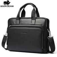 Bison Denim Genuine Leather 14 Laptop Briefcase Business Zipper Brown Black Handbag Soft Cowhide