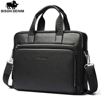 Bison Denim Genuine Leather 14 Laptop Briefcase Business Zipper Brown Black Handbag Soft Cowhide