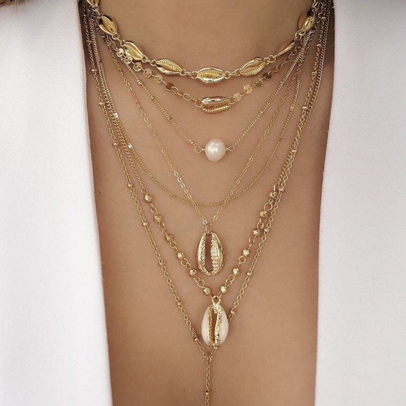 Boho Beads Fashion Multi layer Gold Color long Conch Shell Pendants Necklace Women statement pearl Ocean Seashell Beach Jewelry