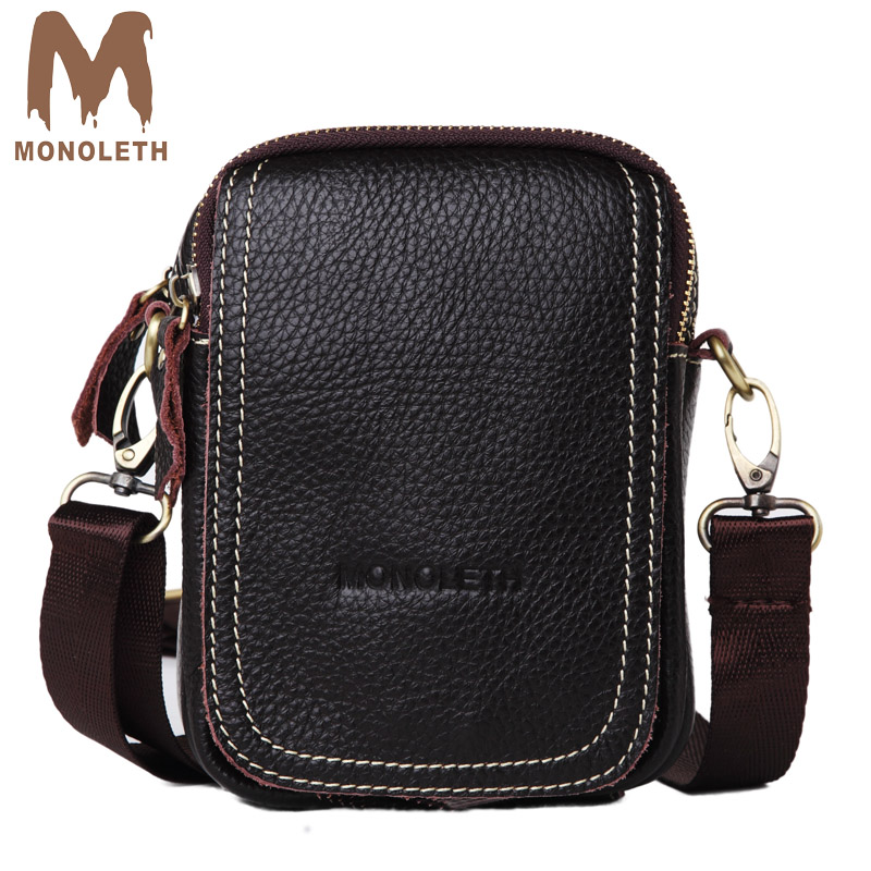 MONOLETH Top Genuine Leather Bag Men mini Shoulder Bags Crossbody - Handbags