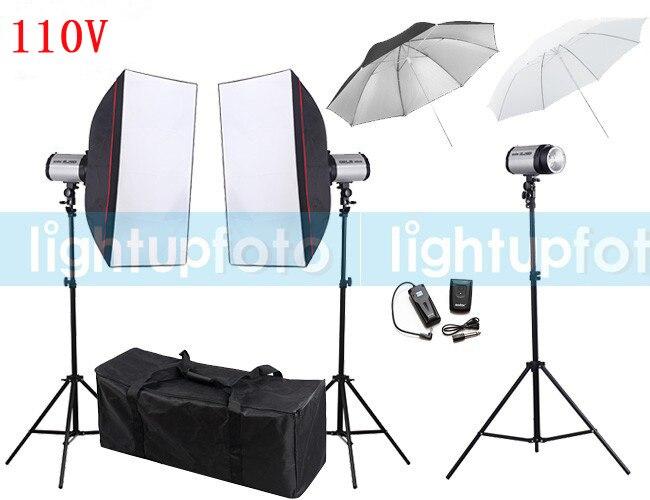 110V 900ws Photography Flash Lighting Kits Godox Strobe Light+Softbox+Light Stand+Flash Trigger+Studio Umbrella Photo Studio Set siketu 12pcs novelty unisex no tie shoelaces silicone elastic sneaker lazy shoe laces jn6 y20