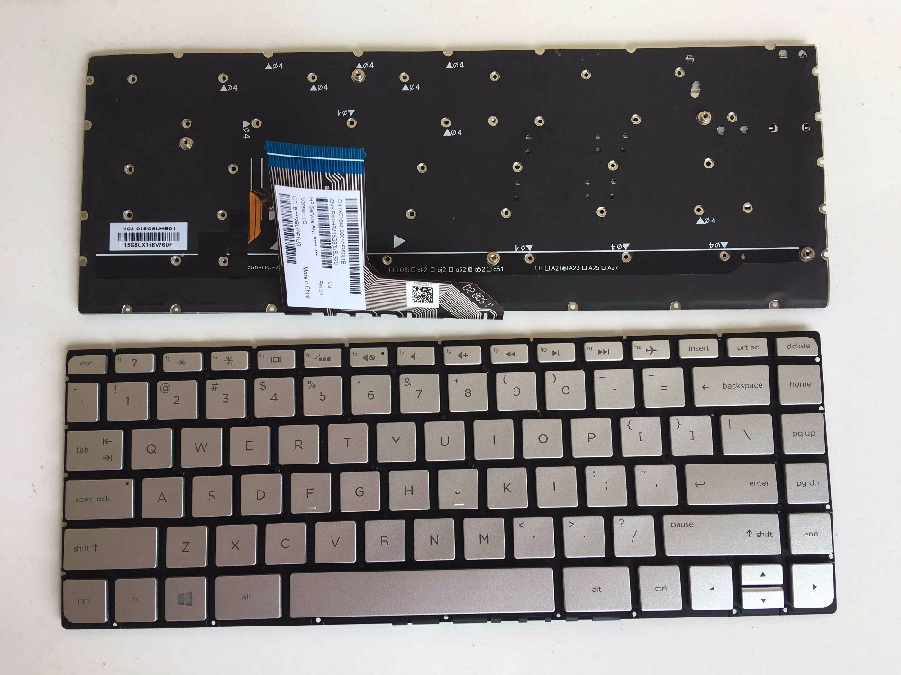 New for HP Spectre x360 15-ap018ca 15-ap007nd 15-ap004na 15-ap062nr 15-ap063nr 15-ap010ca US Keyboard backlit Silver No Frame