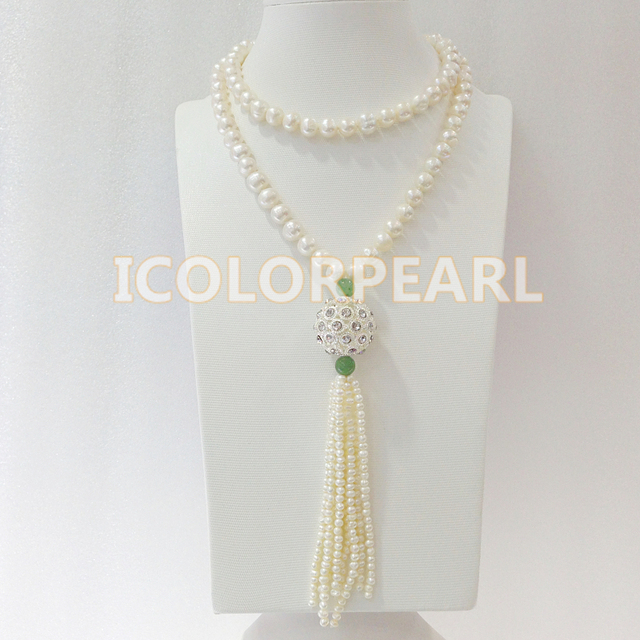 85+10CM 8-9MM White Nearround Freshwater Pearl, Jade And Crystal Ball Sweater Necklace. Elegant Jewelry Gift For Mothers!