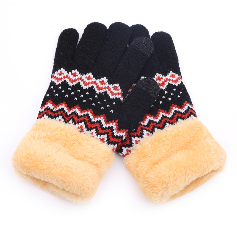 Men/women Can Touch The Screen Winter Plus Velvet Thickening Gloves Winter Outdoor Driving Knit Warm Gloves B45