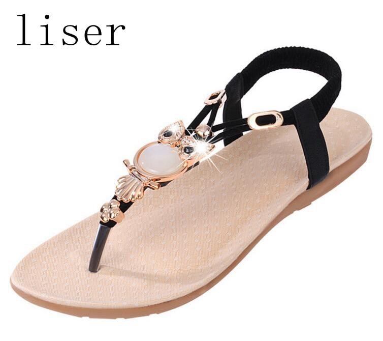liser Rhinestone del grano del búho sandalias del dedo del tirón de - Zapatos de mujer - foto 2